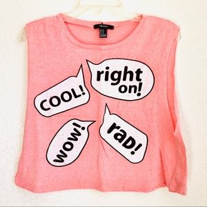 Forever 21 peach pink graphic rad muscle crop top